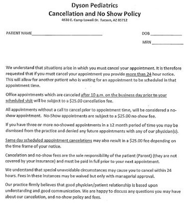Cancellation and no show policy