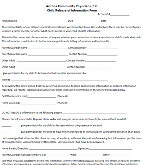 Minor Child Release form